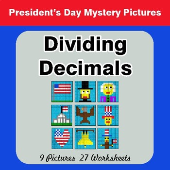 President's Day: Dividing Decimals - Color-By-Number Math Mystery Pictures