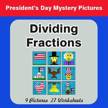 President's Day: Dividing Fractions - Color-By-Number Math Mystery Pictures