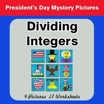 President's Day: Dividing Integers - Color-By-Number Math Mystery Pictures