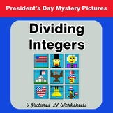 President's Day: Dividing Integers - Color-By-Number Myste