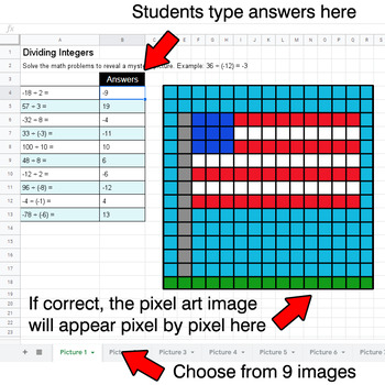 President's Day - Dividing Integers - Google Sheets Pixel Art