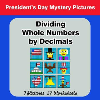 President's Day: Dividing Whole Numbers by Decimals - Math Mystery Pictures
