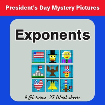 President's Day: Exponents - Color-By-Number Math Mystery Pictures