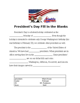 President's Day Fill in the Blank