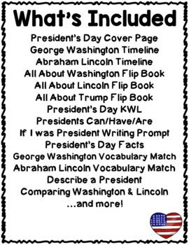 President's Day Activities Interactive Notebook Lapbook