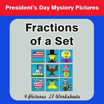 President's Day: Fractions of a Set - Color-By-Number Math Mystery Pictures