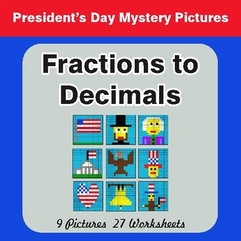 President's Day: Fractions to Decimals - Color-By-Number Math Mystery Pictures