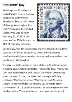 President's Day Handout