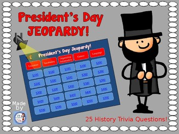 President's Day Jeopardy Game for Intermediate Grades