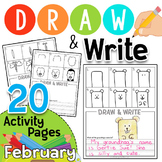 Draw & Write: Directed Drawing for February  Groundhog, Valentine, Black History