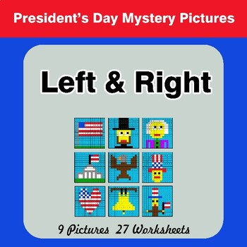 President's Day: Left & Right side - Color by Emoji - Mystery Pictures