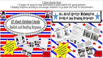 President's Day- Lincoln and Washington- 2 Booklets and Reading Response