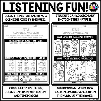 President's Day Listening Sheets, Washington, Lincoln, Jefferson, February
