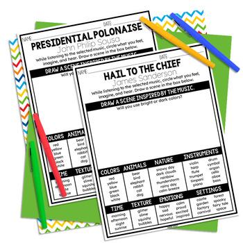 President's Day Listening Sheets, Washington, Lincoln, Jefferson, February