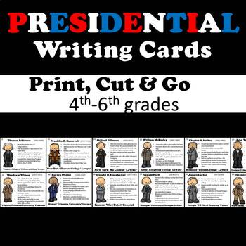 President's Day - Literacy Center Writing Activity - President Fact Cards