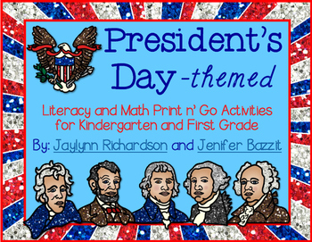 President's Day Literacy and Math Print n' Go Activities