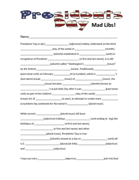 President's Day Mad Libs