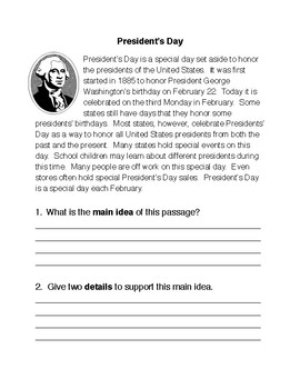 President's Day Main Idea and Details