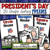 President's Day Math Center --- 2D Shape Sorting FREEBIE