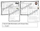 President's Day Math Facts Secret Code Bundle