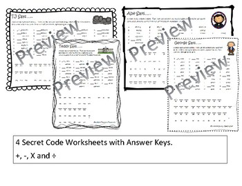 President's Day Math Facts Secret Code Bundle