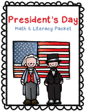 President's Day Math and Literacy Packet