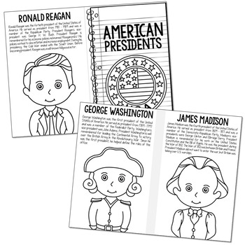 American Presidents Mini Book, Interactive Notebook, Presidents' Day