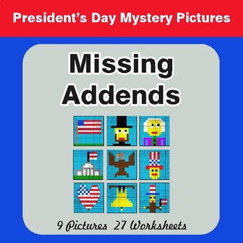 President's Day: Missing Addends - Color-By-Number Math Mystery Pictures