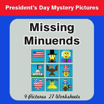 President's Day: Missing Minuends - Color-By-Number Math Mystery Pictures