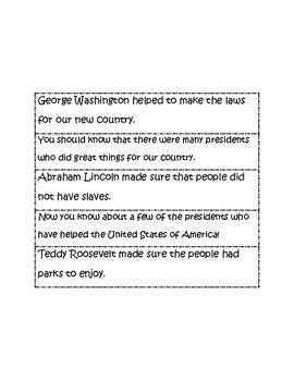 President's Day Mixed Up Paragraph