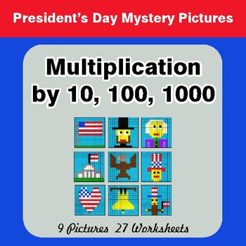 President's Day: Multiplication by 10, 100, 1000 - Math Mystery Pictures