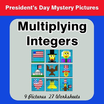 President's Day: Multiplying Integers - Color-By-Number Math Mystery Pictures