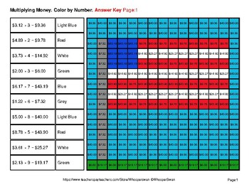 President's Day: Multiplying Money - Math Mystery Pictures / Color By Number