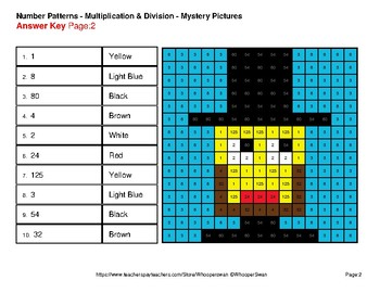 President's Day: Number Patterns: Multiplication & Division - Mystery Pictures