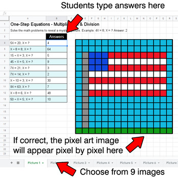 President's Day: One-Step Equations - Multiplication & Division - Google Sheets