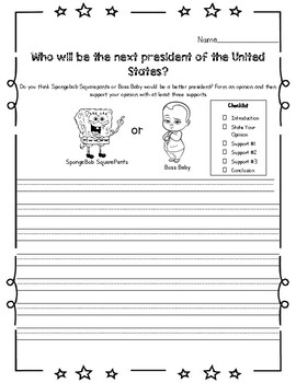 President's Day Opinion Writing Superheroes or Cartoon Characters for President
