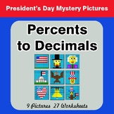 President's Day: Percents to Decimals - Color-By-Number My