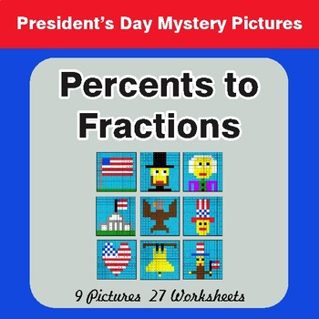 President's Day: Percents to Fractions - Color-By-Number Math Mystery Pictures