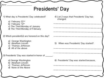 Presidents' Day RI 2.1 RI 2.2 RI 2.3