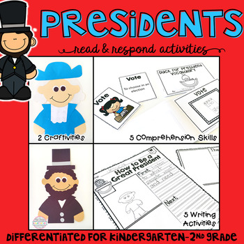 President's Day: Reading Comprehension, Writing and Craftivities