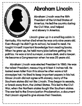 President's Day Reading Comprehension Passages & Questions- Lincoln & Washington