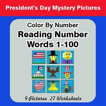 President's Day: Reading Number Words 1-100 - Color By Number - Mystery Pictures