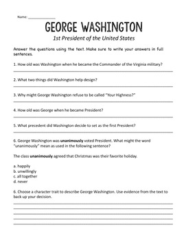 President's Day Reading Passages and Comprehension Questions