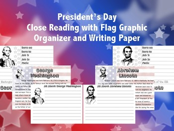 President's Day Reading with Flag Graphic Organizer