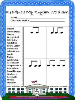 President's Day Rhythm Word Sort