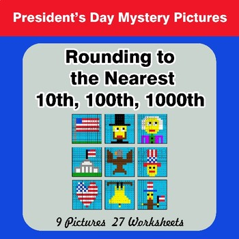 President's Day: Rounding to the nearest 10th, 100th, 1000th | Color by Code
