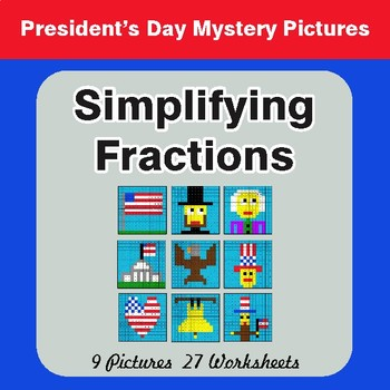 President's Day: Simplifying Fractions - Color-By-Number Math Mystery Pictures