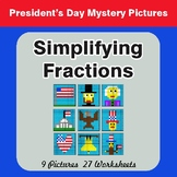 President's Day: Simplifying Fractions - Color-By-Number M