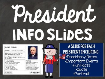 President's Day Slides - A Slide for Each of the 45 Presidents