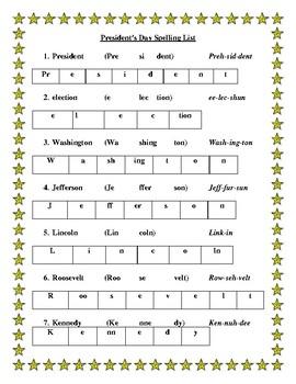 President's Day Spelling List